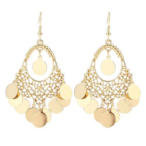 BaubleStar Gold Disc Earrings Chandelier Coin Dangle Tassel Earrings Vintage Bohemian Drop Fashion Jewelry for Women Girls B077G