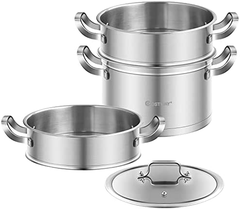 41WN3oG40nS. AC COSTWAY 3-Tier Stainless Steel Steamer for Cooking, Boiler Pot with Handles on Both Sides, Transparent Tempered Glass Lid, Free Combination Design, for Induction, Radiant-Tube Furnace    Product Description