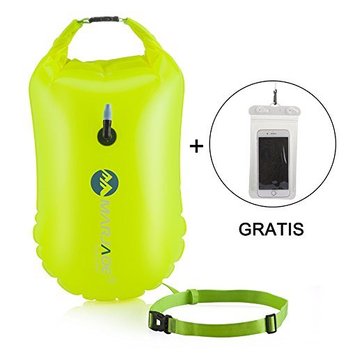 - MARJAQE Swim Float for Open Water Swimmers and Triathletes with Dry Bag and Waterproof Cell Phone Case,Highly Visible Swim Safety Buoy for Safe Swim Training,0.35mm Eco-friendly PVC (Light Green)