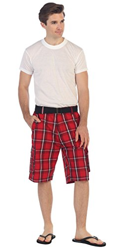 (Gioberti Men's Plaid Belted Cargo Shorts, Red/White Striped, Size)