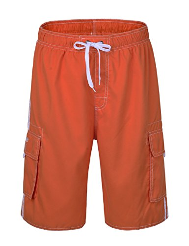 9e749608caa NONWE Men's Classic Lightweight Board Shorts Swim Trunks Red Orange 34