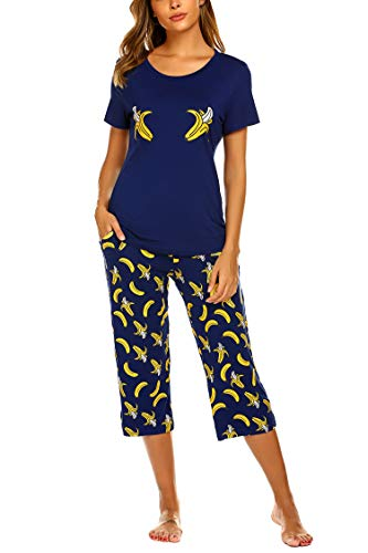 MAXMODA Women Summer Pajamas Stylish Print Ladies Pajama Set Oversized Shirt Capri Lounge Pants Banana XL (Shirt Pajamas Pants)