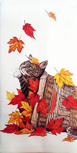 "Mary Lake Thompson Autumn Leaves Cat Basket 100% Cotton Flour Sack Dish Tea Towel 30"" x 30"""