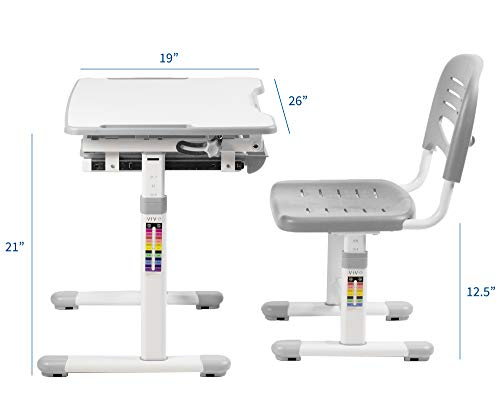 41WN4YkwAbL - VIVO Height Adjustable Children's Desk and Chair Set, Grey