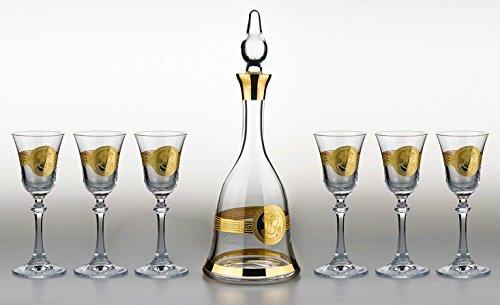 Denizli Spirits 7-pc Set of 35 Oz Bohemia Crystal Decanter with Vintage Gold Greek Key Pattern and 5 Oz Sherry Liquor Glasses by Denizli