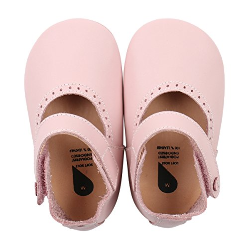 BOBUX Baby Girls Shoes Premium Leather Soft Sole Shoes for Infants and Toddlers L (15-21 mo.) Pink Mary (Toddler Infant Soft Pink Shoes)