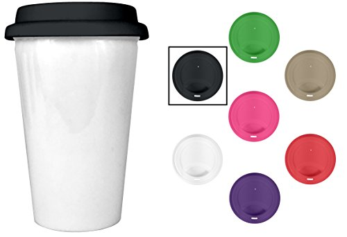 Insulated Ceramic around coffees Cup - 10 oz Glossy White 2 Walled Ceramic using Black Silicone sport bike helmet - BPA Free - greatest Value