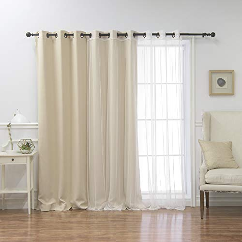 - Best Home Fashion Wide Width Thermal Insulated Blackout Curtain - Antique Bronze Grommet Top - Beige - 100