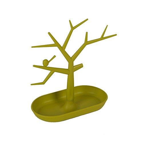 Aland Chic Display Jewelry Organizer Show Rack Necklace Ring Earring Tree Stand Holder Green