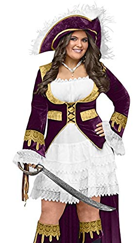 FunWorld Plus-Size Caribbean Queen Diamond Costume, Purple/Cream,  Plus Size Costume -