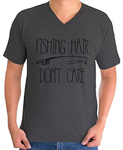Awkward Styles Men's Fishing Hair Don`t Care V-Neck T Shirts for Men with A Fishing Rod Charcoal S
