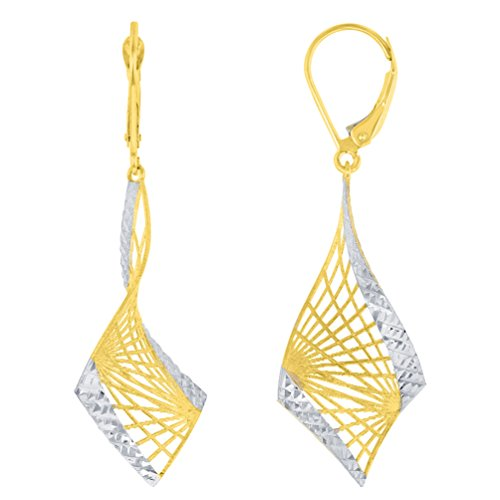 Textured 14K Yellow Gold Two-Tone Fancy Spiral Dangle Earrings with Leverback, 48.25mm x 16.25mm ()