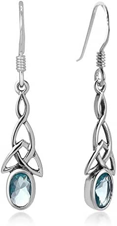 925 Sterling Silver Celtic Knot Blue Topaz Gemstone Oval Drop Dangle Hook Earrings 1.29 inches