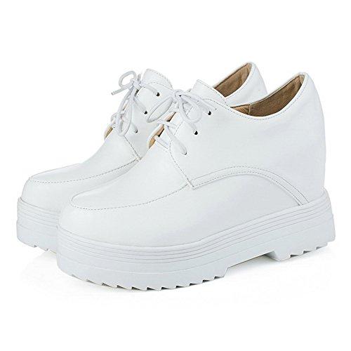 Amoonyfashion Donna Tacco Alto Tacco A Punta Tonda Scarpe Stringate-scarpe Bianche