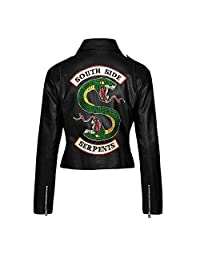 The Sparks Up Inc. Riverdale Southside Serpents Embroidery Snake Faux Leather Jacket