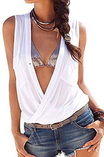 Smanicato Moda Estivi Spalline Tshirts Anteriori V Grazioso Elasticit Casual Irregular Camicetta Elegante Tasche Profondo Donna Monocromo Senza Magliette XSB5qB