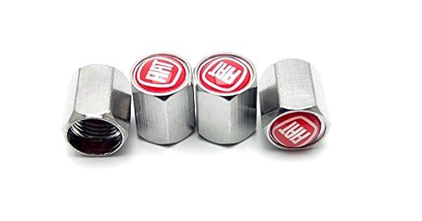 Amazon.com: cromado metal Tire Valve Stem Caps para Fiat ...