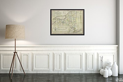 1833 Map York Map The State York The Latest improvements Phelps, Humphrey, Active 19th Century|Vintage Fine Art Reproduction|Ready to Frame ()