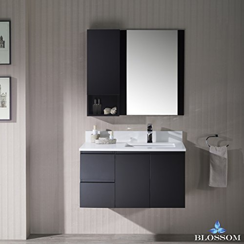 BLOSSOM 000-36-02-R-WH-M Monaco 36'' Wall Mount Right Vanity Set with Mirror and Wall Cabinet Espresso by Blossom