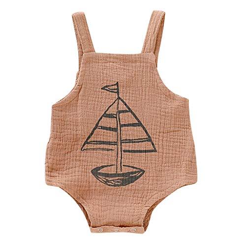 Iuhan Clearance Baby Boy Girl Playwear Romper, 0-18 Months Newborn Kids Baby Girls Boys Suspender Trousers Boat Print Romper Bodysuit Overalls ()