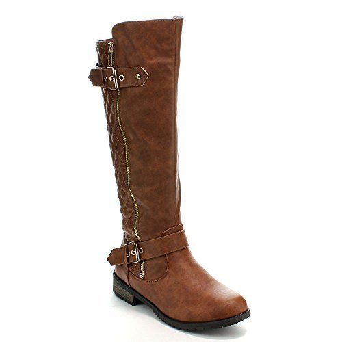 Forever+Link+Women%27s+MANGO-21+Quilted+Zipper+Accent+Riding+Boots%2C+Tan%2C+10