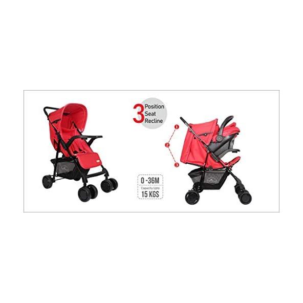 1st Step Baby Travel System – Baby Pram Cum Stroller Cum Car Seat/ 5 Point Safety Harness/Link Break/ 3 Position Seat Recline/Adjustable Leg Rest/Peek-a-Boo Window/Reversible Handle Bar – Red