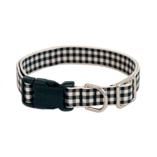 Gingham Luxury Dog Collar- Black Large