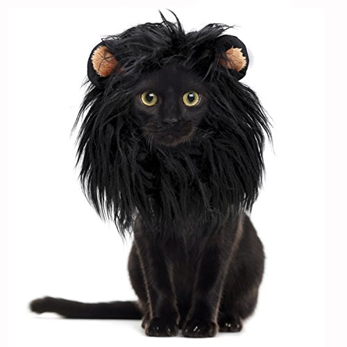 Onmygogo Lion Mane Wig for Cats, Funny Pet Cat Costumes for Halloween Christmas, Furry Pet Clothing Accessories (Size S, Black)