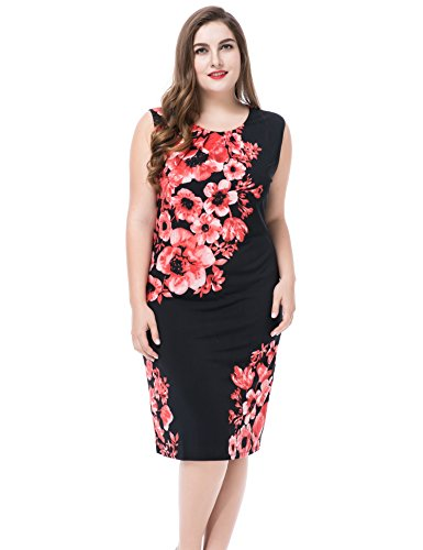 Chicwe Women's Plus Size Lined Floral Printed Sleeveless Dress - Knee Length Work and Casual Dress Pink 22 ()