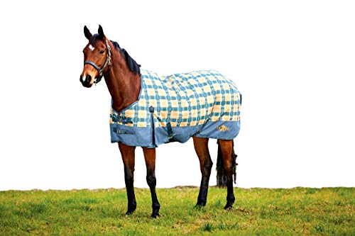 Saxon Horse Blankets - Saxon. 1200D with Gusset Standard Neck Medium II, Grey/Pebble/Sand Plaid, 66