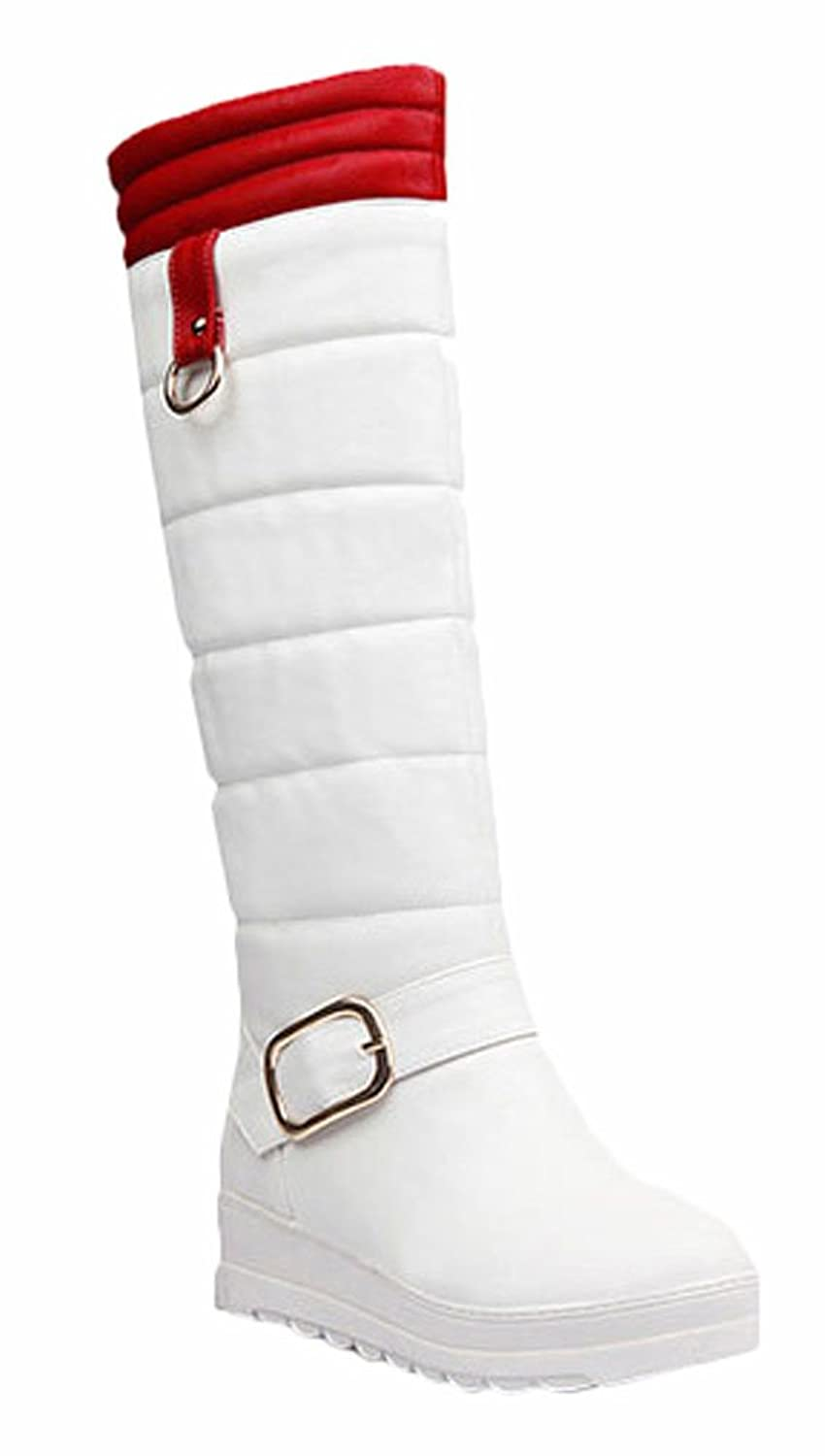 Ace Women's Winter Platform Flat Knee-high Thermal Knight Boots with Fur Plus Size