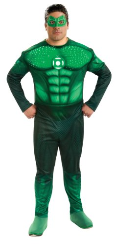 Green Lantern Deluxe Full Figure Hal Jordan Plus size Costume With Light Up Muscle Chest, Green, One Size