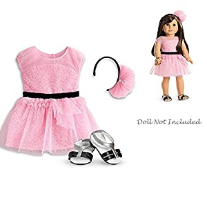 American Girl Pink Dress Black Shoes Headband