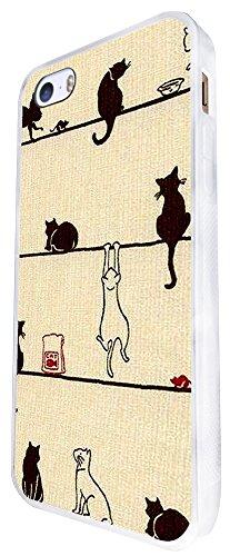 580 - Playing Cute Multi Cats Design iphone SE - 2016 Coque Fashion Trend Case Coque Protection Cover plastique et métal - Blanc