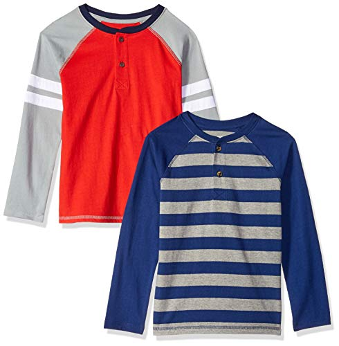 Amazon Brand - Spotted Zebra Boys' Little Kid 2-Pack Long-Sleeve Henley Shirts, Blue/Stripe, X-Small (4-5) (Xs Boys Tshirts)