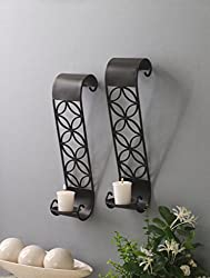 """Hosley Set of 2 Iron Pillar Candle/LED Wall Sconces- 14"""" High. Ideal Gift for Wedding, Special Occasion, Spa, Aromatherapy: Hand Made by Artisans. O3"""