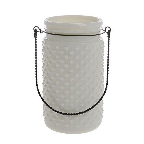 White Hobnail Glass Jar 4