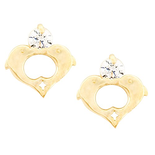 14K Gold Dolphin Stud Kids Earrings With Safety Screw Backs (yellow-gold)