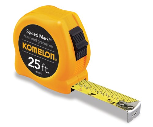 Komelon SM3925 Speed Mark Acrylic Coated Steel Blade Tape Measure 25-Foot by 1-Inch Yellow Case by Komelon