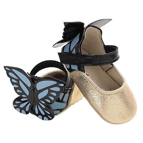 Baby Girls Butterfly Sparkle Mary Jane Slip On Wedding Princess Dress Crib Shoes Golden Size L