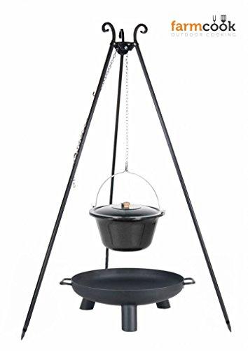 Dreibein Grill VIKING Höhe 180cm + Emaillierter Topf 10 Liter + Feuerschale Pan37 Durchmesser 60cm