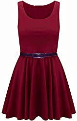 New Womens Plus Size Sleeveless Top Belted Flared Ladies Skater Dress (XL-2X)