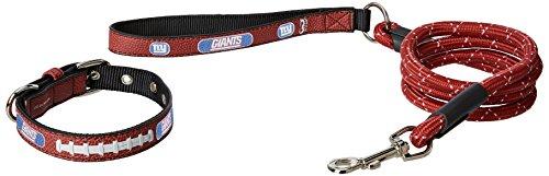 GameWear NFL New York Giants Pebble Grain Football Collar & Medium Leash Gift Pack, Small, Brown