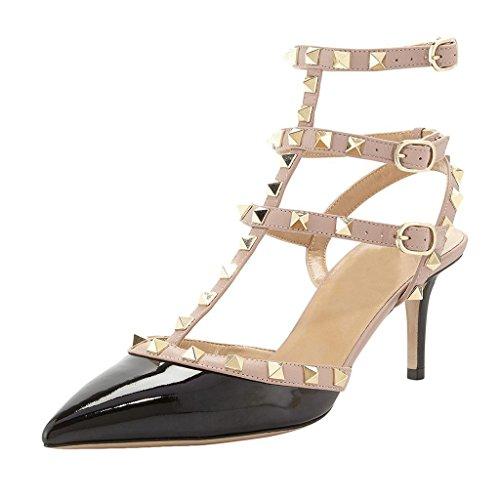 MINIVOG Women's Rivets Buckle Studded T-Strap Pointed-Toe Dress Sandals Black Patent US8