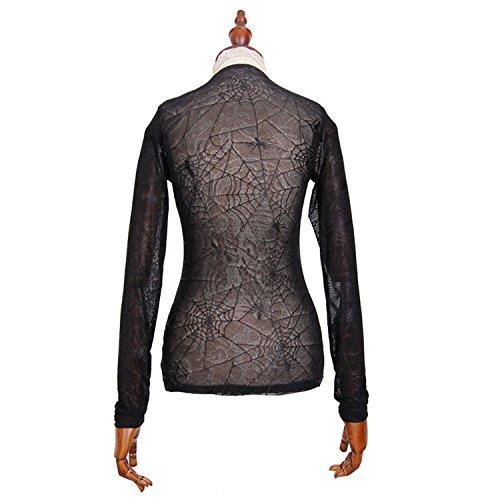 Devil Fashion Gotico Steampunk Donna Girocollo Slim Fit sexy Spider Webs pizzo camicetta superiore maglietta nera a maniche lunghe Prospettiva T-shirt, 7 formati