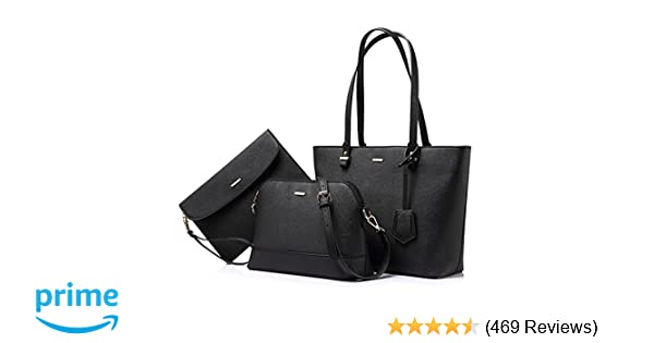 Amazon.com  Handbags for Women Shoulder Bags Tote Satchel Hobo 3pcs Purse  Set Black  Shoes ee22355cd9d27