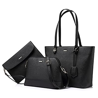 Amazon.com  Handbags for Women Shoulder Bags Tote Satchel Hobo 3pcs ... cf78d3a4adf4c