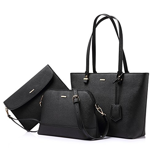 Handbags for Women Shoulder Bags Tote Satchel Hobo 3pcs Purse Set Black ()