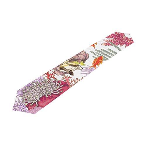 U LIFE Tropical Ocean Sea World Fish Aquatic Coral Decorative Table Runners Cloth 13 x 70 or 13 x 90 Inches