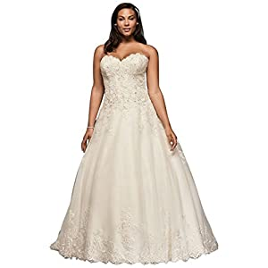 David's Bridal Beaded Lace and Tulle Plus Size Wedding Dress Style 9V3836